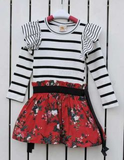 A2327 Baby Girls Long Sleeve Striped Top Dress Floral Tutu Skirt Waistband S2 7Y