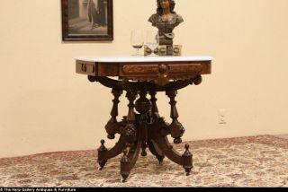 Victorian Renaissance 1875 Antique Marble Top Parlor Lamp Table