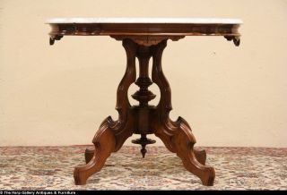 Victorian 1875 Antique Marble Top Center Parlor or Lamp Table
