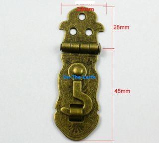 5 Antique Brass Decorative Hasp Jewelry Box Hasp Lock Latch 23x73mm with Screws