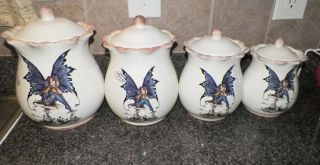 New Kitchen Fairy 4pc Canister Set Cookie Jars Amy Brown Retired Collection