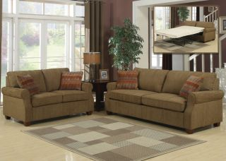 3pc Transitional Modern Fabric Sofa Bed Set AC Ale S1