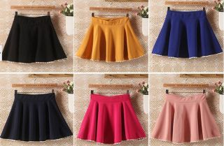 8 Color Sexy Girls Women's Skirts A Line Solid Mini Skirts Pleated Lace Trim New