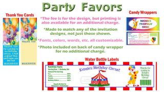 Circus Clown Carnival Birthday Party Ticket Invitations Supplies Favors