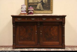 Victorian Eastlake 1875 Antique Marble Top Sideboard Server or Buffet