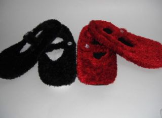 New Mary Jane Ballet Flat Slippers Red or Black Non Skid Sole Shoe by Sonoma