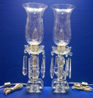 2 Vintage Victorian Crystal Hurricane Lamps with Prisms