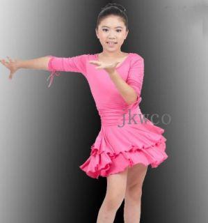 Kid Girl Latin Dance Dress Jive Rumba Child Ballroom Flouncing Dance Costume