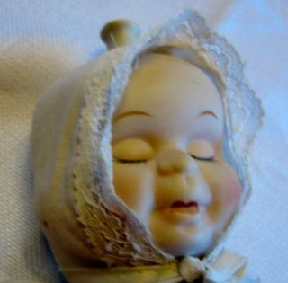 Vintage Bisque Porcelain Three Face Baby Doll Sleep Cry and Smile