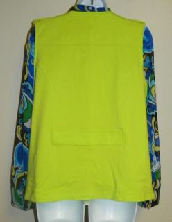 $110 Erin London Womens Multi Color Fashion Shirt Lime Green Vest Set M L