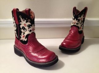 Ariat Fat Baby Leather Boots Pearl Red Gator Womens Sz 9 5 Red Gem Suede Tops