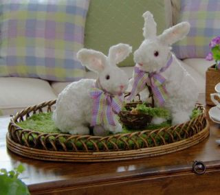 Set of 2 Soft White Fur Easter Bunny Rabbits Valerie Parr Hill