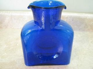 Blenko Cobalt Blue Dbl Lip Water Bottle Carafe Pitcher Glass Decanter Unmarked