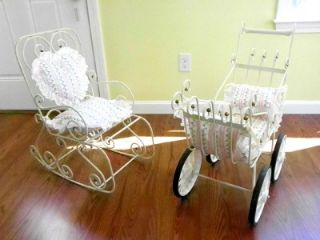Vintage 70's Doll Baby Carriage Stroller Buggy with Matching Rocking Chair