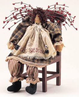 Replica Vintage Style Rag Doll God's Blessing Primitive Weighted Shelf Sitter