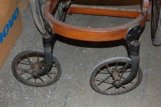 Antique Primitive Gendron 4 Wheel Chair Wooden 1800s