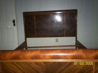 Vtg 1940's Waterfall Bedroom 4 PC Furniture Set Chifferobe Vanity Dresser Bed