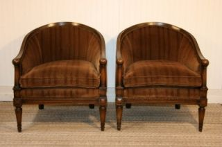 Pair Antique Barrel Back Neoclassical Club Lounge Chairs Directoire Jansen Style