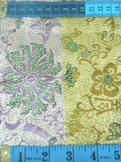 Chinese Brocade Fabric Material Gold Green Longlive Upholstery by Yard