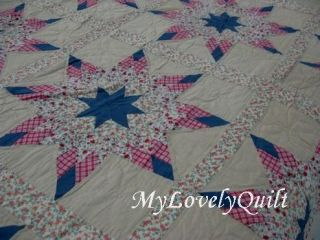 Lone Star Hand Quilted Patchwork Quilt Bedspread Queen