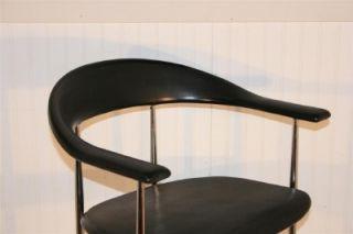 Heavy Vtg Mid Century Modern Fasem Italian Chrome Vinyl Arm Chair Made in Italy