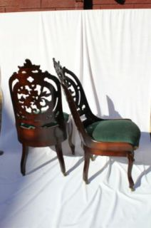 American Rococco Pair Carved Chairs Attributed to J J w Meeks Circa 1850'S