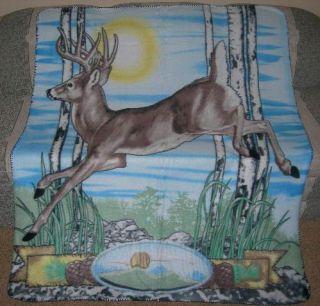 New Running Deer Elk Polar Fleece Throw Blanket Lodge