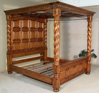 Solid Oak Barley Twist King Size Canopy Poster Bed 33014