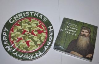 New Duck Dynasty Christmas Party Supplies 16ct Dessert Plates 24 Napkins