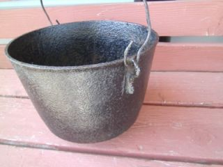 Primitive Antique Footed Cast Iron Pot Bean Kettle Cauldron 8 1880's Country