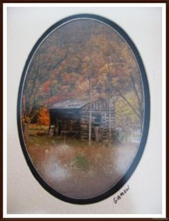 """Framed Double Matted Fall Barn Farm Scene Photo by Gamow 6 3 4"""" w x 8 3 4"""" H"""