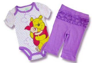 New Disney Winnie The Pooh Baby Girl Infant Bodysuit Pants Bib 3 Piece Set