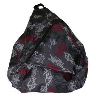 Eastsport Fuel Sketchy Graffiti Backpack Sport School Travel Sling Pack Red Gray