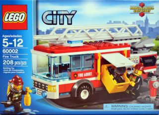 Lego City 60002 Fire Truck Fire Man Mini Figs Red Ladder Truck 208 Pieces