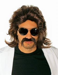 70's Detective Porn Star Wig Moustache Set Fancy Dress Costume Wig Quality Wig