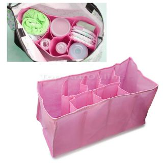 Hot Baby Organizer Bag Portable Diaper Nappy Bottle Divider Storage Pouch Pink