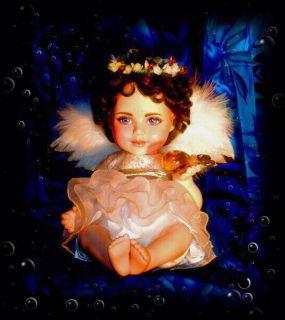 OOAK 2013 Elizabeth Taylor Porcelain Baby Christmas Angel Doll Cherub Liz