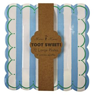TOOT Sweet Blue White Stripe Boys Birthday Party Pack 12 Large Square Plates