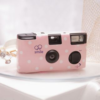 12 Single Use Polka Dot Wedding Party Disposable Cameras 2 Colors 843286022645