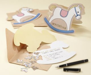 Rock A Bye Babies Christening Baby Shower Pack 10 Rocking Horse Invitations
