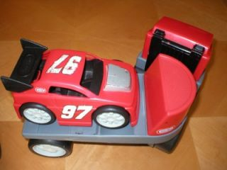 Little Tikes Rugged Riggz Tow Truck Flatbed Truck Race Car