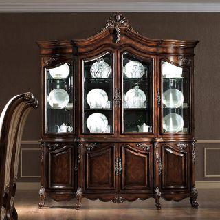 Antiqued Walnut Buffet China Hutch Cabinet Free s H
