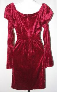 Vintage 90s Burgundy Crushed Velvet Grunge Dress Dolly Mini M L Skater Peasant