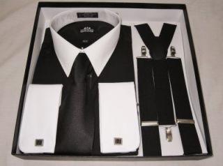Black Tuxedo Set XXL 18 18 5 34 35 Shirt Tie Suspenders Cuff Links Stafford New