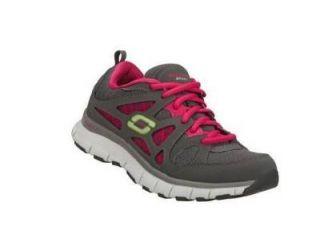New Womens Skechers Sport Flex Fit Running Shoe 11667 Charcoal Hot Pink Sz 9
