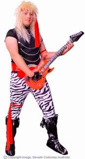 80's Rock Star Men's Fancy Dress Costume Plus Size with Guitar 7 Piece Set XL