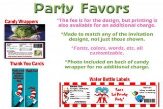 Dr Seuss Grinch Cat in The Hat Birthday Party Ticket Invitations Supplies Favors