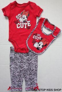 Minnie Mouse Baby Infant Girls 0 3 6 9 Months Outfit Set Shirt Pants Bib Disney