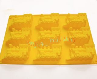 Cake Soap Mold 9 Locomotive Train Shape Silicone Mould Candy Chocolate Ice Fimo