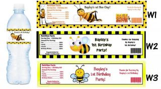 Bumblebee Buzz Bee Printed Water Bottle Labels Birthday Party Favors Supplies
